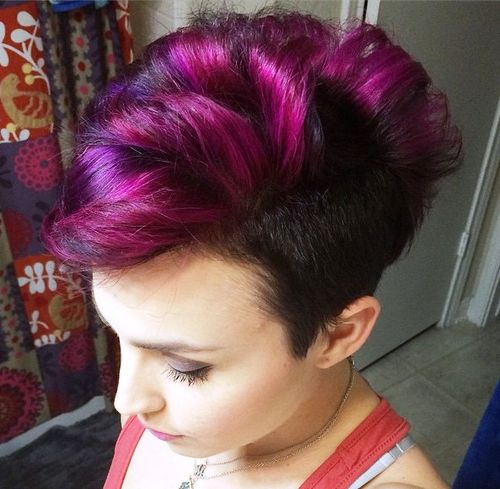 brown and magenta fauxhawk