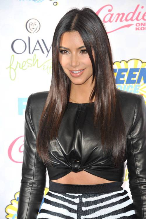 Kim Kardashian long layered haircut