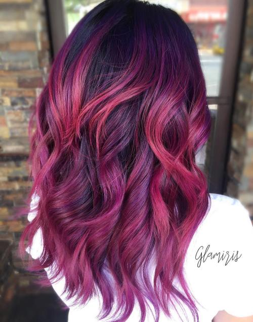 Burgundy Balayage For Black Hair