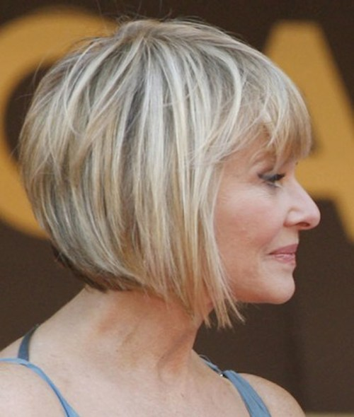 angled bob hairstyle for women over 50