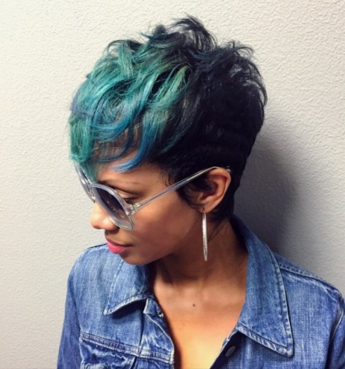 black pixie with pastel green bangs