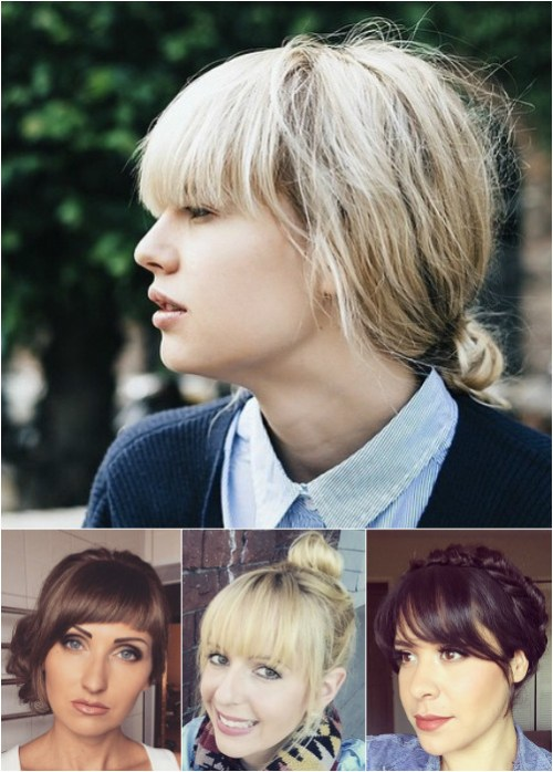 bun updos for medium hair with bangs