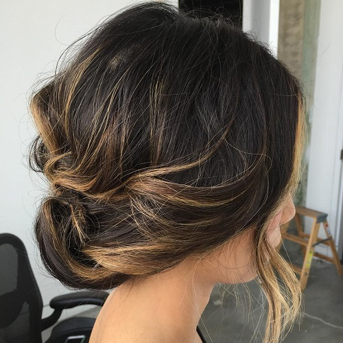 Low Loose Updo For Balayage Hair