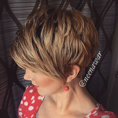 short light golden brown hair with darkened roots