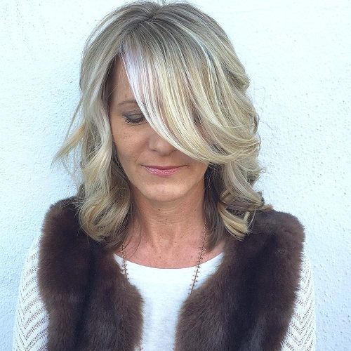 Mature Medium Hairstyle With Long Side Bangs
