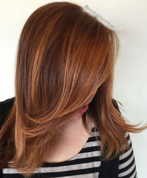 Brown Hair With Copper Balayage