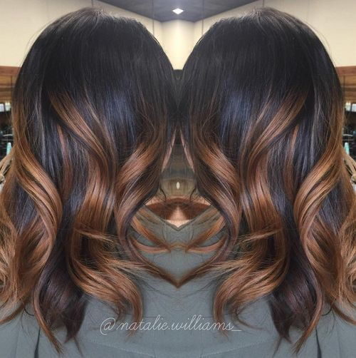 black hair with caramel ombre highlights