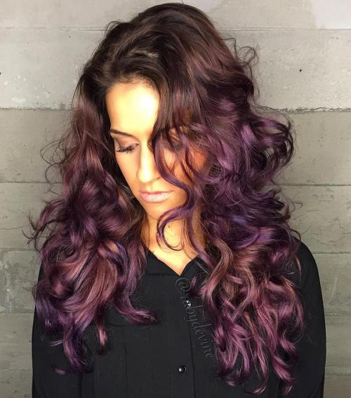 Pastel Purple Highlights For Brown Hair