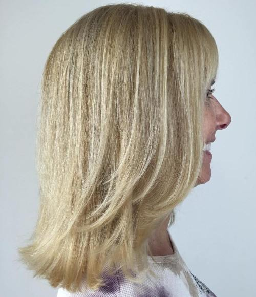 Medium Hairstyle With Layers For Women Over 40