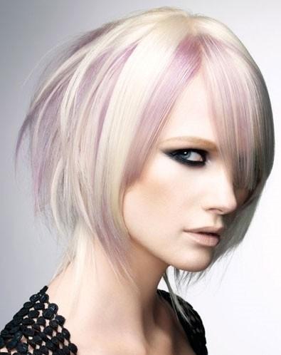 platinum blonde short emo hairstyle