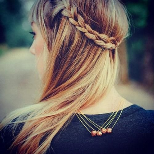 braided hairstyle for long hair with bangs