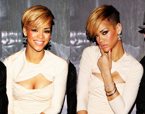 Rihanna's short hairstyle with undercut