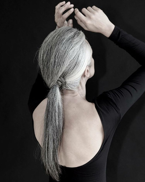 Long Gray Low Ponytail For Older Women