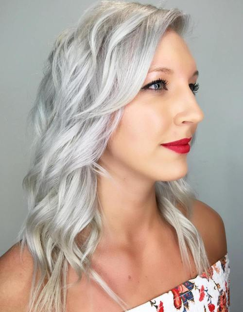 Medium Silver Blonde Wavy Hairstyle