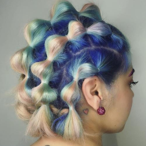 Pastel Hair Bubble Ponytails