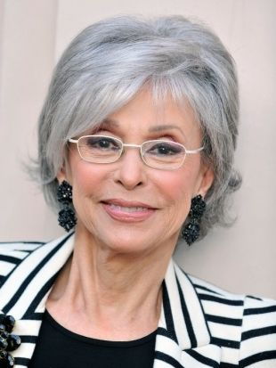 classy short hairstyle for gray hair