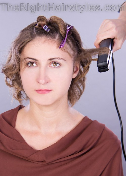 how to shape messy curls with a flat iron