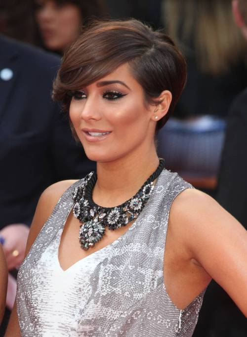 short brown hairstyle with asymmetry