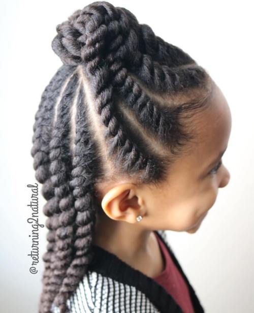 Half Bun With Flat Twists