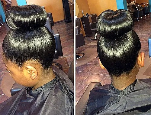 black girl's formal sleek bun hairstyle