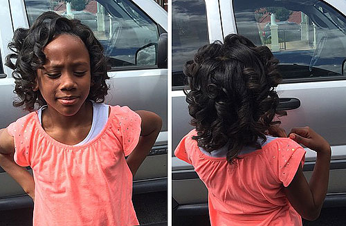 short curled black hairstyle for a little girl