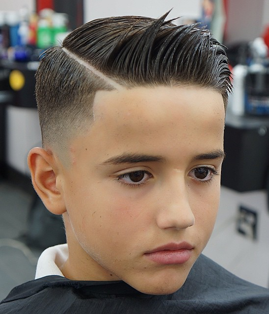 Boy's Fade With Shaved Side Part