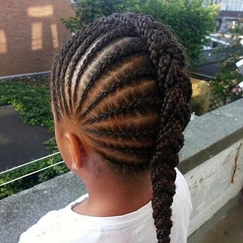 black girl's braided Mohawk