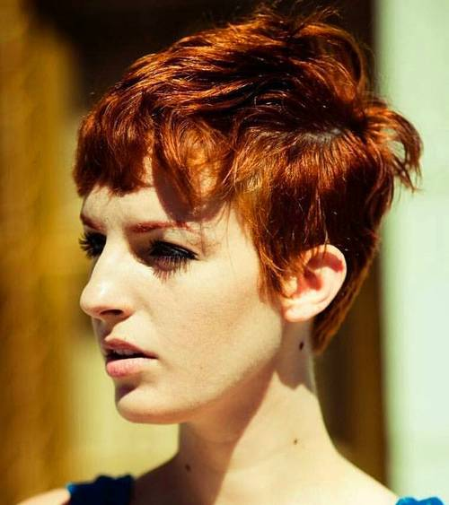 red pixie for curly hair