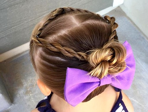 twists and bun updo for girls