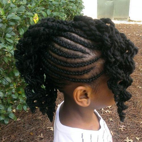 black braided Mohawk for girls