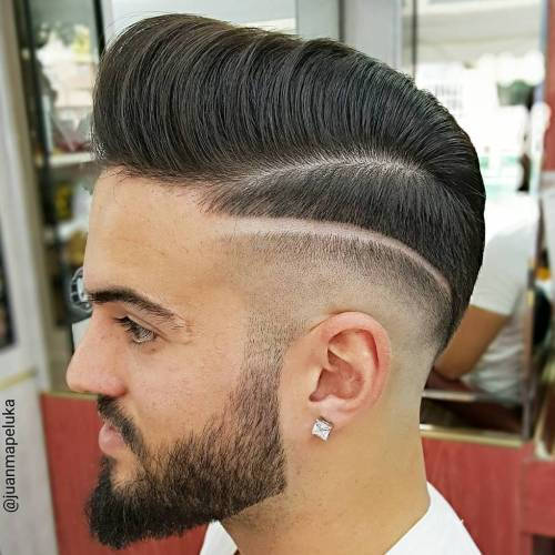 Pompadour With Shaved Side Design