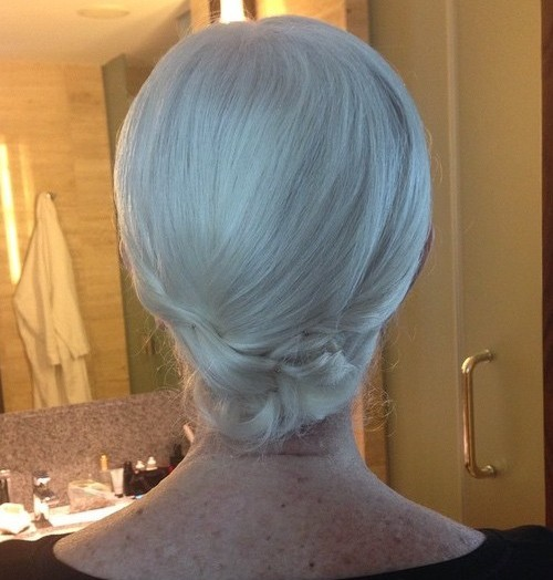 formal low chignon for shorter hair in older women