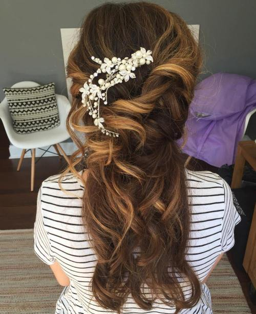 Messy Curly Bridal Half Up Hairstyle