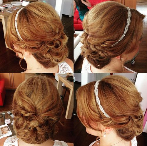 formal low curly updo with jeweled band