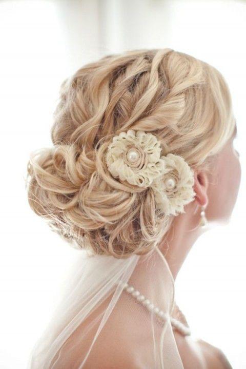 Elegant wedding updo for blonde hair