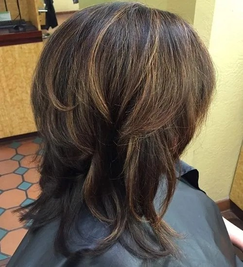 medium layered brown haircut for thick hair