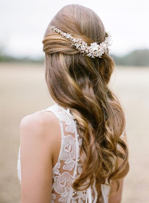 Wedding hairstyles long straight hair half up