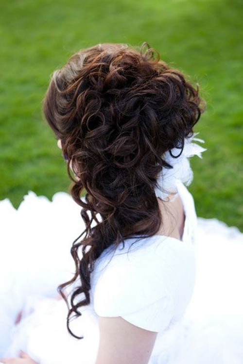 curly bridal updo for long hair