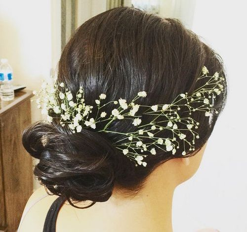 low messy bun bridesmaids hairstyle