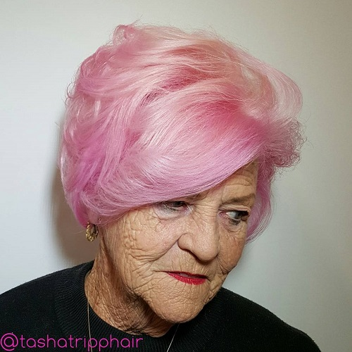 pastel pink hairstyle for ladies over 70
