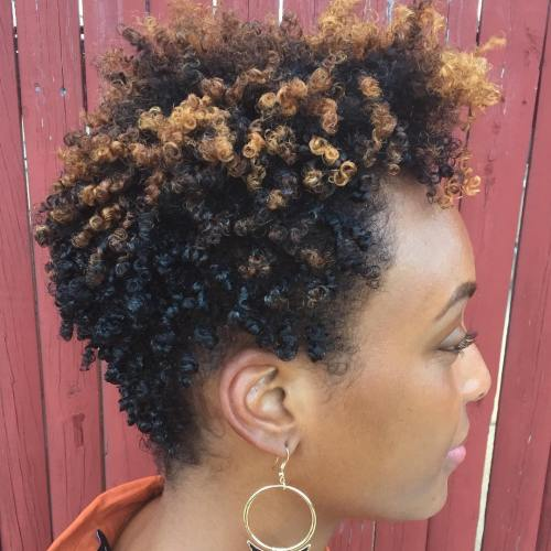 Short Tapered Afro With Highlights