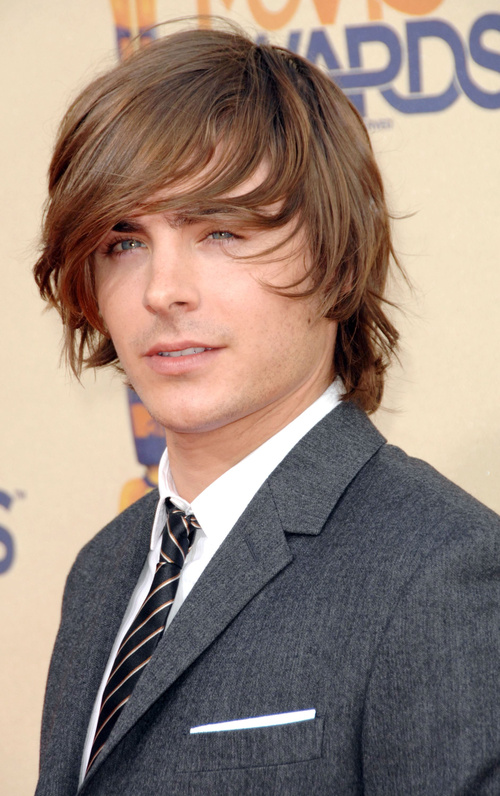 Zac Efron medium haircut with engled edges