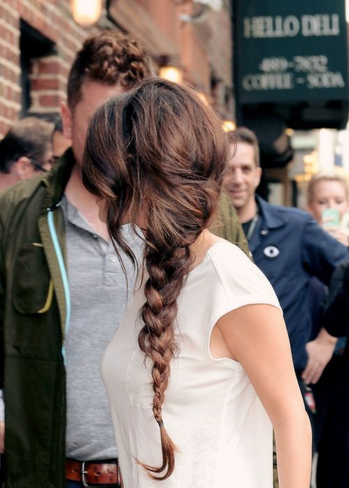 Selena Gomez side braid hairstyle