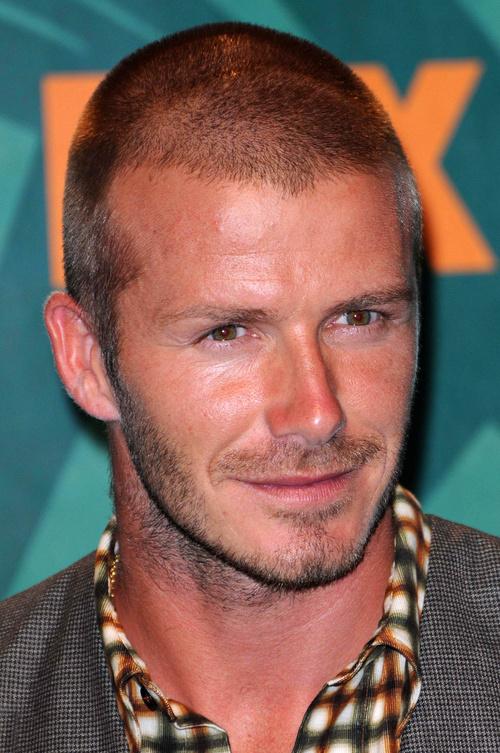 David Beckham crewcut and facial hairstyle