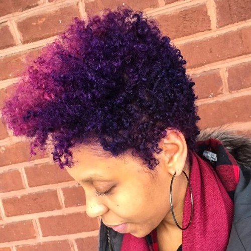 Purple Tapered Natural Hairstyle