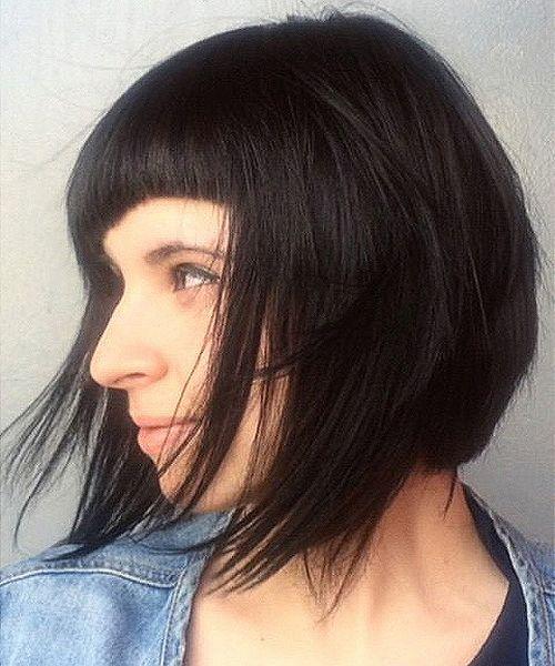 textured bob with asymmetrical bangs