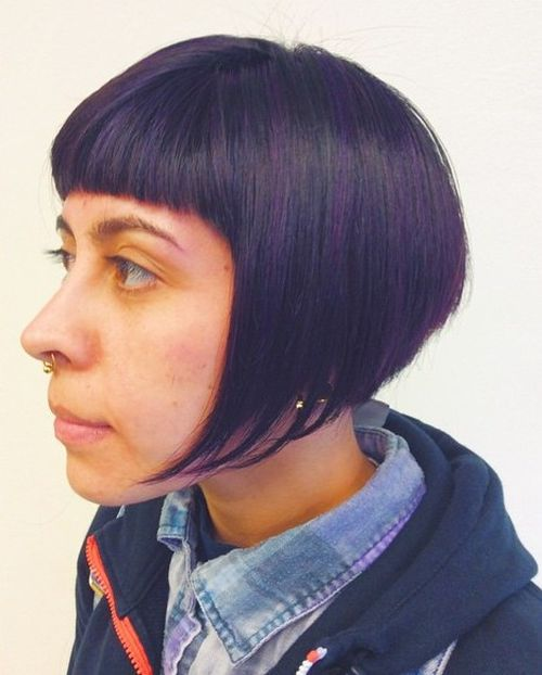 inverted bob with short blunt bangs