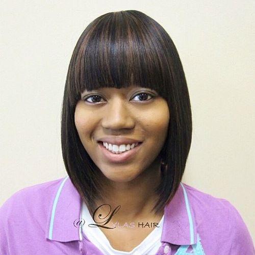blunt black bob with arched bangs