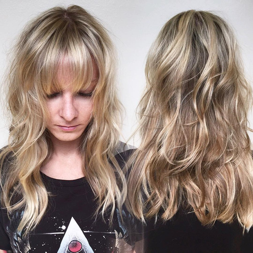 Layered Blonde Hairstyle With Bangs