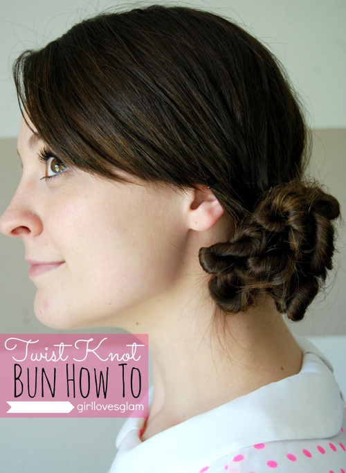 easy bun updo with twists for long hair